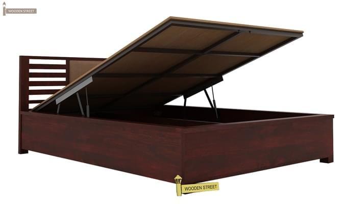 Hether Hydraulic Bed (King Size, Mahogany Finish)-5