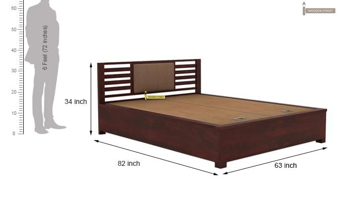 Hether Hydraulic Bed (Queen Size, Mahogany Finish)-6