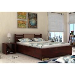Hether Hydraulic Bed (Queen Size, Mahogany Finish)