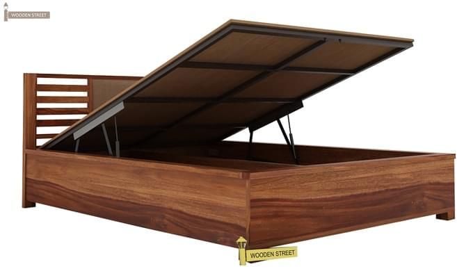 Hether Hydraulic Bed (Queen Size, Teak Finish)-3