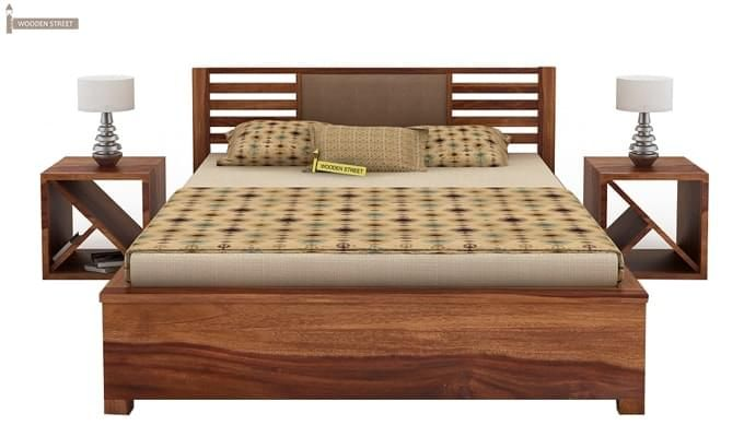 Hether Hydraulic Bed (Queen Size, Teak Finish)-1