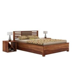 Hether Hydraulic Bed (King Size, Teak Finish)
