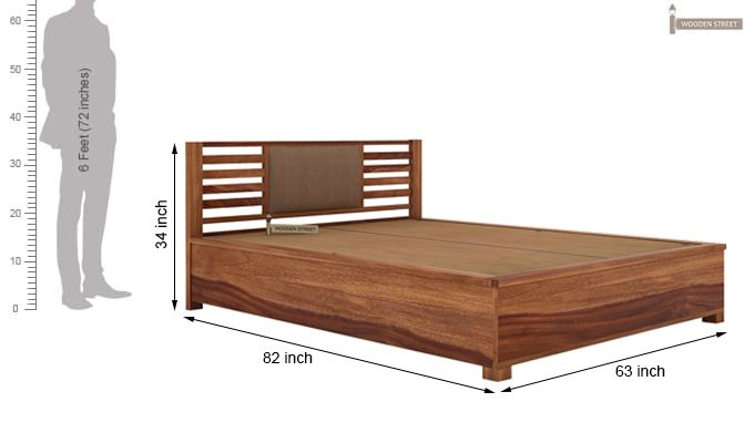 Hether Hydraulic Bed (Queen Size, Teak Finish)-4