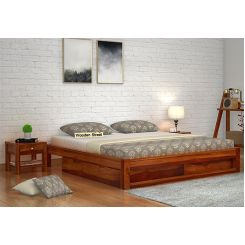 Hout Bed With Storage (King Size, Honey Finish)