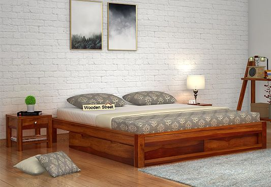 Hout Double Bed With Latest Design, Storage Box And Without Headboard