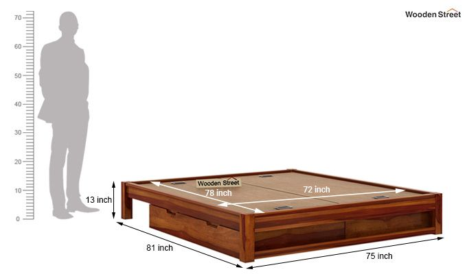 Hout Bed With Storage (King Size, Honey Finish)-7