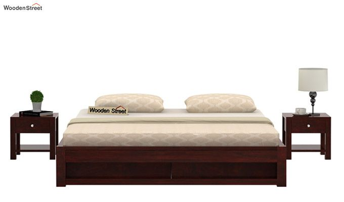 Hout Bed With Storage (Queen Size, Mahogany Finish)-2