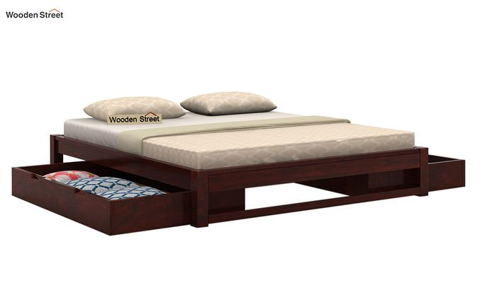 Hout Bed With Storage (Queen Size, Mahogany Finish)-3