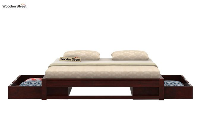Hout Bed With Storage (Queen Size, Mahogany Finish)-4