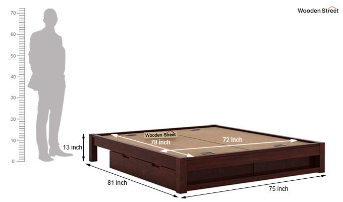 Hout Bed With Storage (King Size, Mahogany Finish)-6