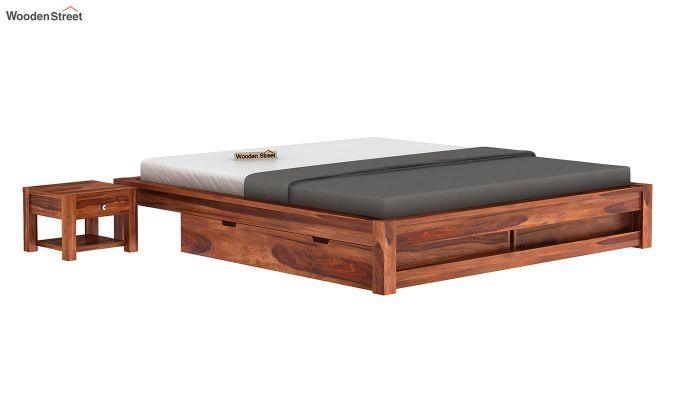 Hout Bed With Storage (Queen Size, Honey Finish)-2