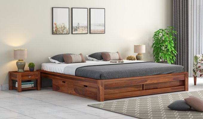 Hout Bed With Storage (Queen Size, Honey Finish)-1
