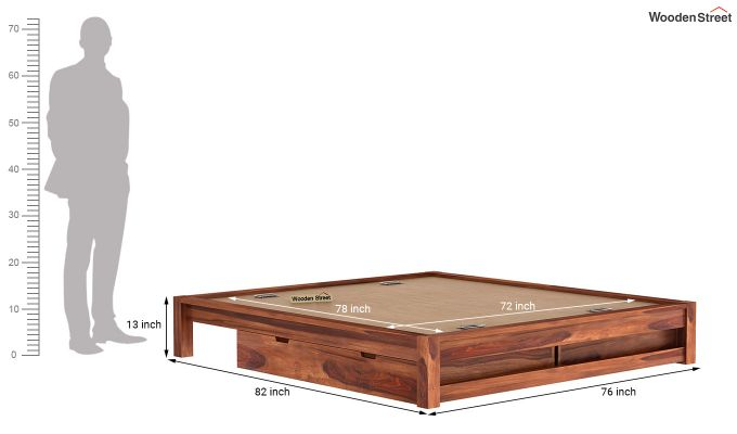 Hout Bed With Storage (King Size, Honey Finish)-9