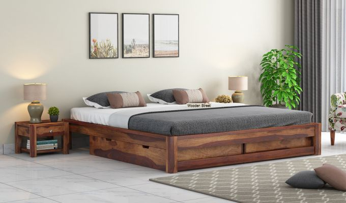 Hout Bed With Storage (King Size, Teak Finish)-1
