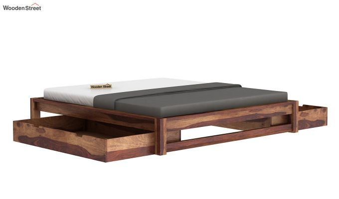 Hout Bed With Storage (King Size, Teak Finish)-4