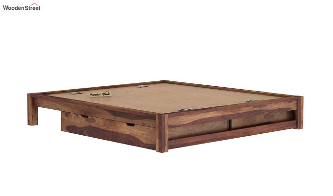 Hout Bed With Storage (King Size, Teak Finish)-8