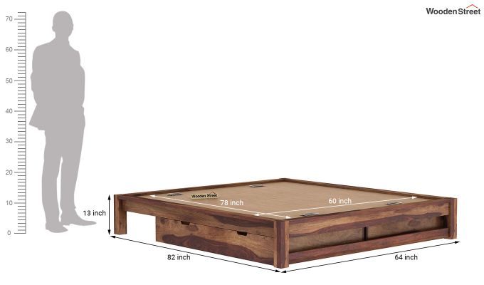 Hout Bed With Storage (Queen Size, Teak Finish)-9