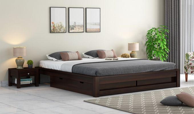 Hout Bed With Storage (King Size, Walnut Finish)-1