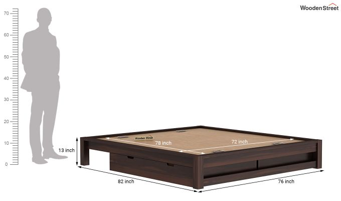 Hout Bed With Storage (King Size, Walnut Finish)-9