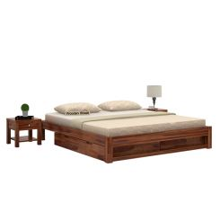 Hout Bed With Storage (Queen Size, Teak Finish)
