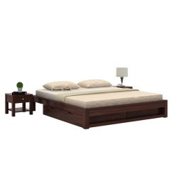 Hout Bed With Storage (King Size, Walnut Finish)