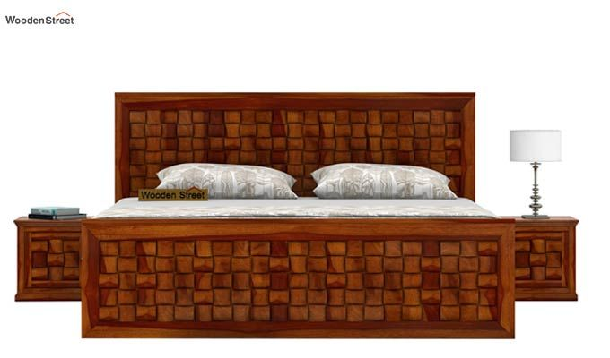 Howler Bed With Side Storage (Queen Size, Honey Finish)-3
