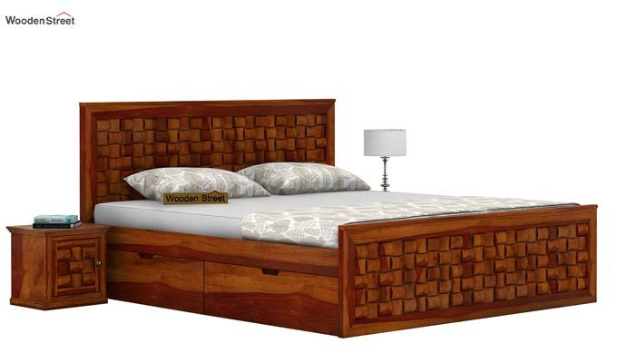 Howler Bed With Side Storage (Queen Size, Honey Finish)-2