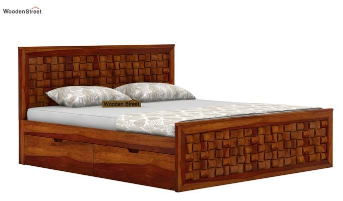 Howler Bed With Side Storage (Queen Size, Honey Finish)-4