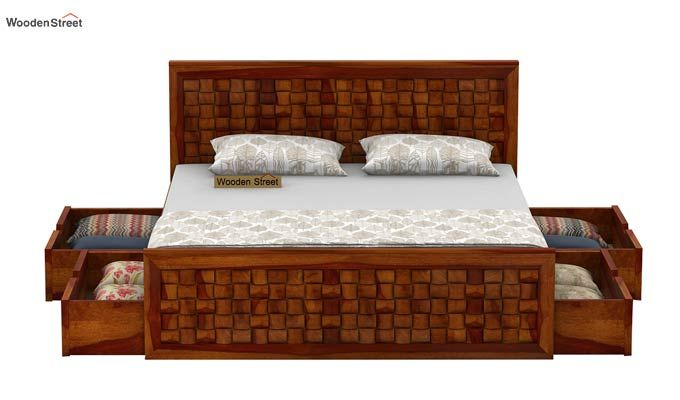Howler Bed With Side Storage (Queen Size, Honey Finish)-5
