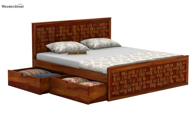 Howler Bed With Side Storage (Queen Size, Honey Finish)-6