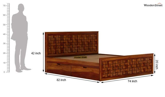 Howler Bed With Side Storage (King Size, Honey Finish)-8