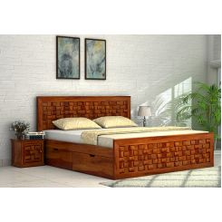 Howler Bed With Side Storage (King Size, Honey Finish)