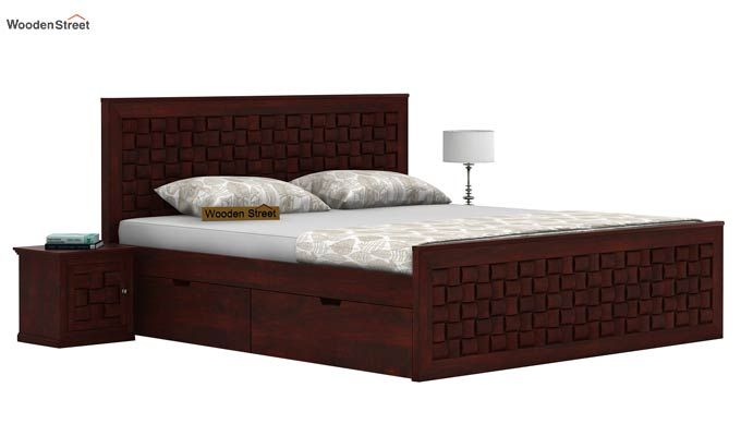 Howler Bed With Side Storage (King Size, Mahogany Finish)-1