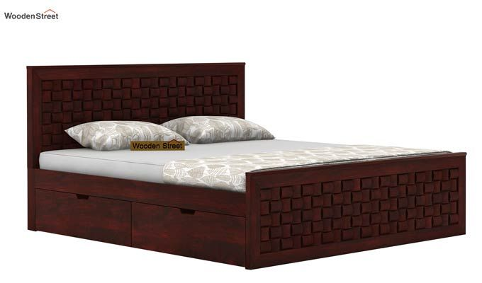 Howler Bed With Side Storage (Queen Size, Mahogany Finish)-3