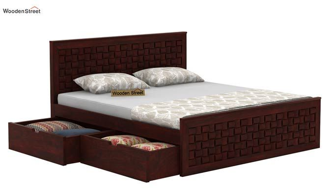Howler Bed With Side Storage (Queen Size, Mahogany Finish)-5
