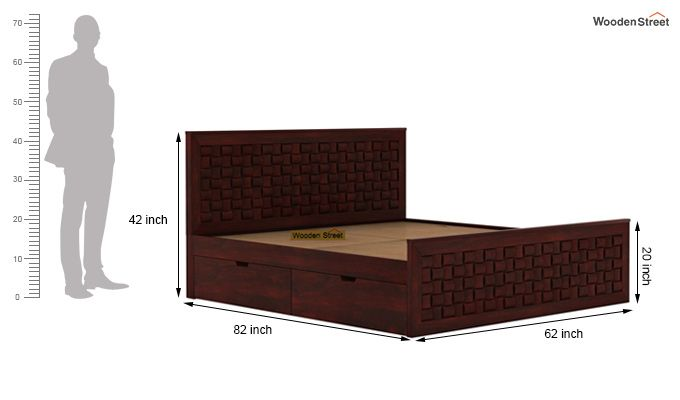 Howler Bed With Side Storage (Queen Size, Mahogany Finish)-7