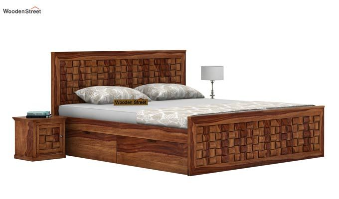 Howler Bed With Side Storage (King Size, Teak Finish)-1