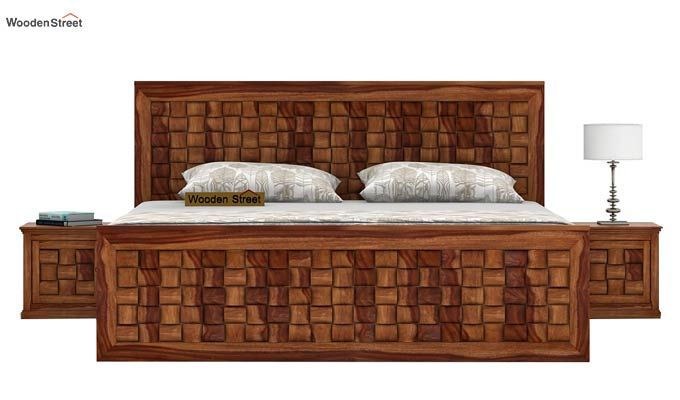 Howler Bed With Side Storage (King Size, Teak Finish)-2