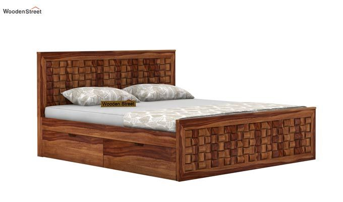 Howler Bed With Side Storage (King Size, Teak Finish)-3