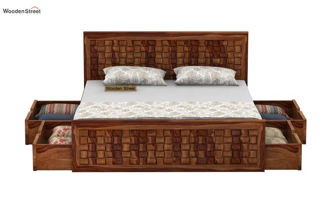 Howler Bed With Side Storage (King Size, Teak Finish)-4