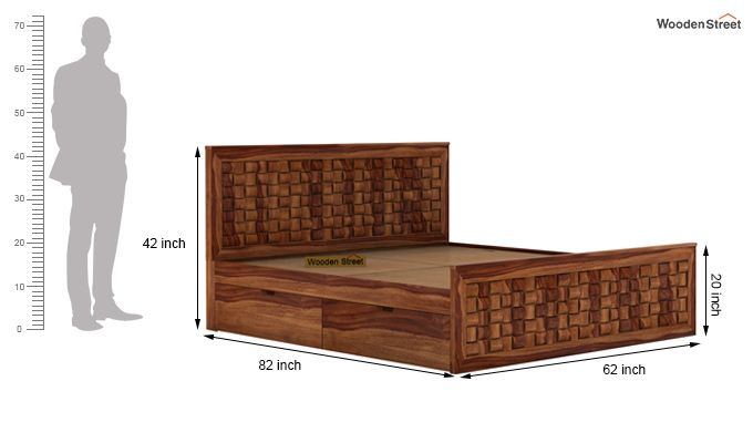 Howler Bed With Side Storage (Queen Size, Teak Finish)-7