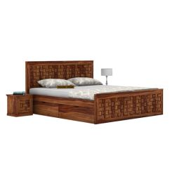 Howler Bed With Side Storage (King Size, Teak Finish)