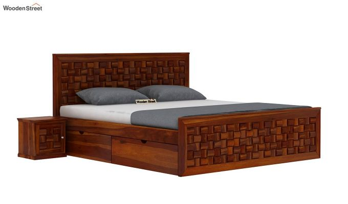 Howler Bed With Side Storage (King Size, Honey Finish)-2