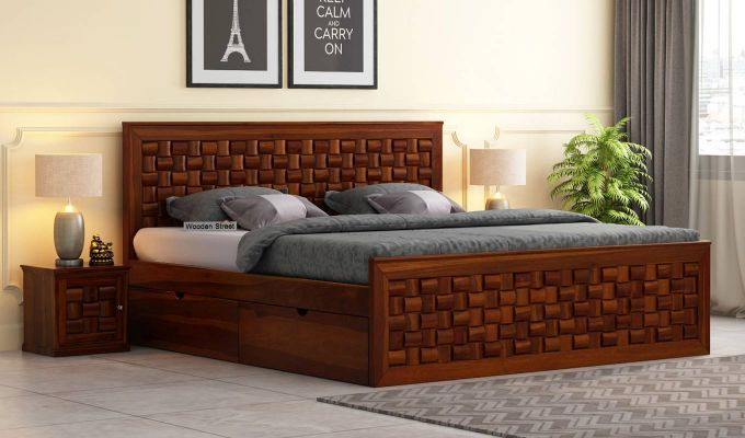Howler Bed With Side Storage (King Size, Honey Finish)-1