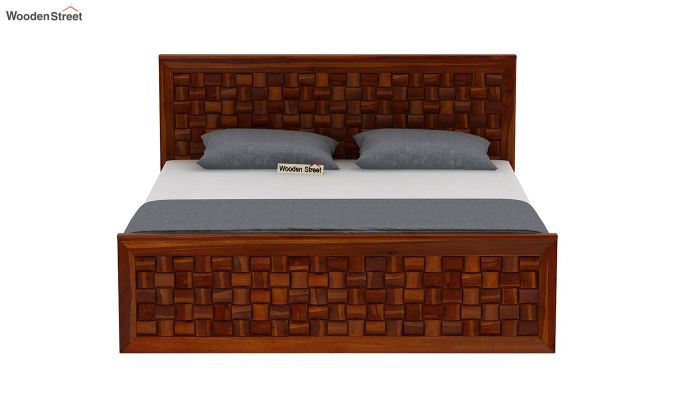 Howler Bed With Side Storage (King Size, Honey Finish)-5