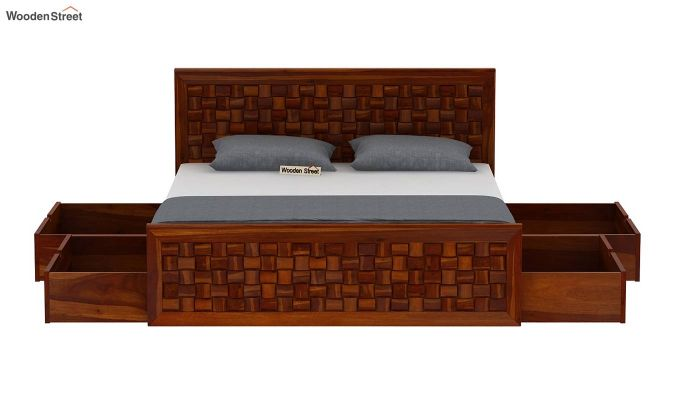 Howler Bed With Side Storage (King Size, Honey Finish)-7