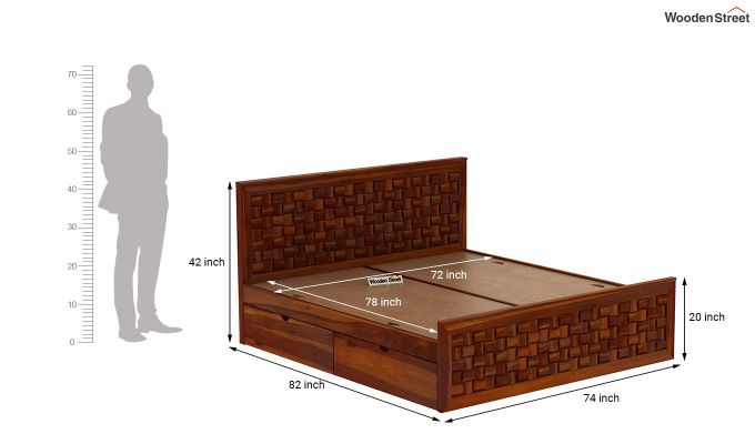 Howler Bed With Side Storage (King Size, Honey Finish)-9