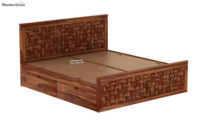 Howler Bed With Side Storage (Queen Size, Teak Finish)-8