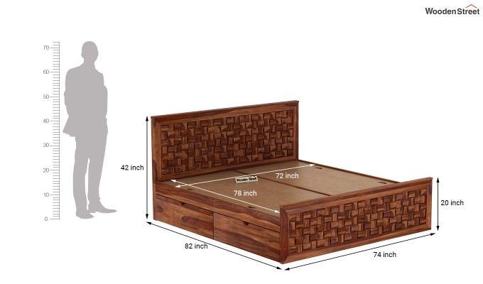 Howler Bed With Side Storage (King Size, Teak Finish)-9