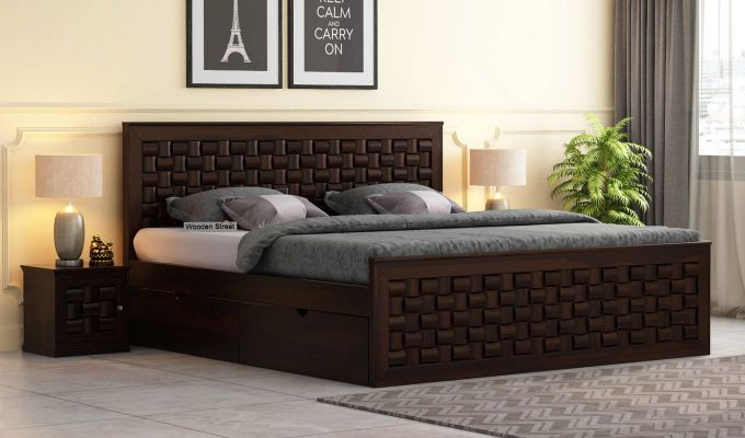 Howler Bed With Side Storage (Queen Size, Walnut Finish)-1